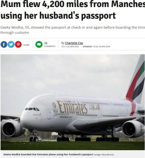 夫のパスポートで出国した女性、到着地インドで初めて気づく(画像は『Manchester Evening News 2018年4月30日付「Mum flew 4,200 miles from Manchester to India - using her husband's passport」(Image: Daily Record)』のスクリーンショット)