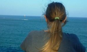 Wistfully looking off into the ocean...