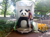 Kim hanging out with a panda
