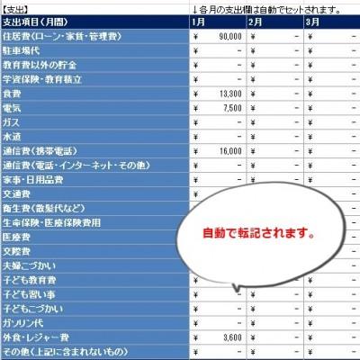 家計簿シート月の支出