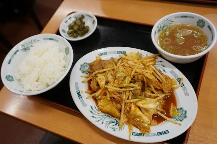 HIDAKAYA Pork with Kimchi Spice Sauce Rice Set 日高屋 バクダン炒め定食