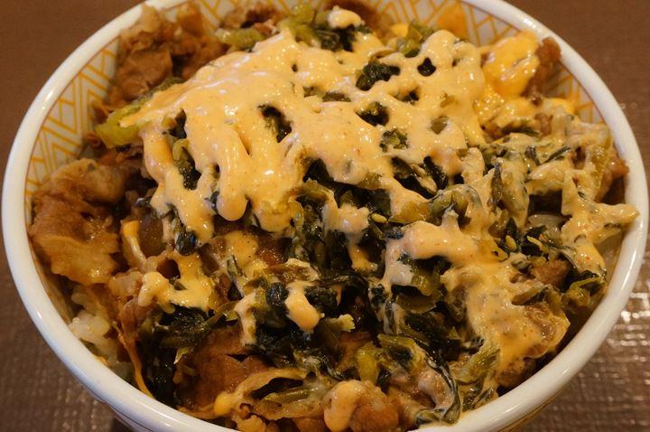 Gyudon with Mustard Leaf, Cod Caviar and Mayonnaise (Beef Bowl) Medium 高菜明太マヨ牛丼 並盛 - SUKIYA すき家