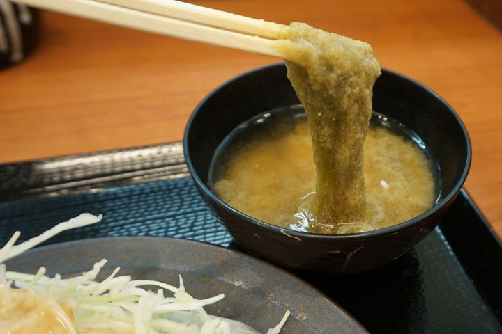 Shaved Konbu (dried kelp) Miso Soup とろろ昆布味噌汁 - 唐揚げ Deep fried chicken KARAYAMA からあげ からやま