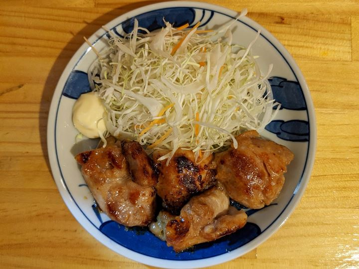 Fried Chicken Thigh Cooked with Miso 鶏もも味噌漬焼き - Standing Bar KAMIYA 立ち呑み かみや