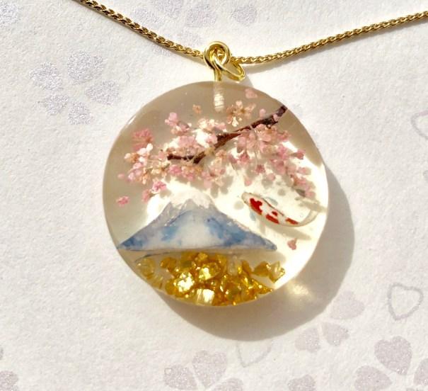 3D桜と富士、錦鯉ネックレス