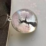 和風クリスタルガラスドーム3D桜ネックレス