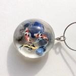 和風クリスタルガラス池の鯉ネックレス