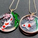 3D ペインティング錦鯉と桜ネックレス