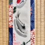着物地の日本画ミニ掛け軸 錦鯉と松
