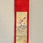 ミニ着物掛け軸 禅スタイル桜 日本画