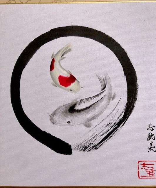 禅 円相の中の鯉 日本画
