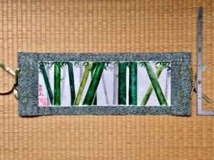 着物絹 掛け軸 日本画竹林 横掛け