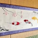 掛け軸 錦鯉と桜 日本画 水墨画 横掛け