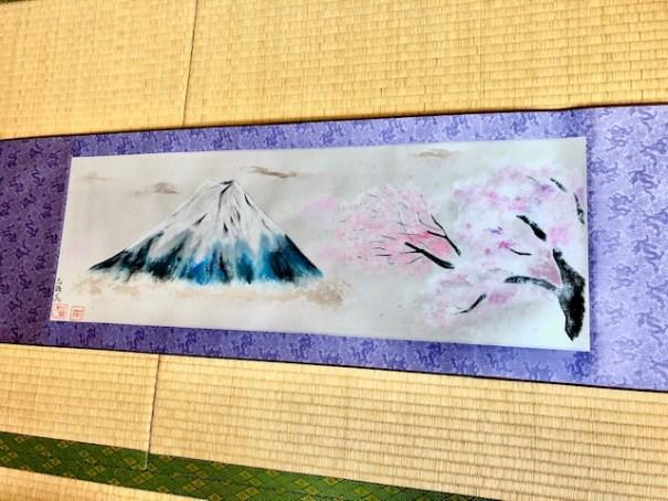 掛け軸 日本画 水墨画 富士山と桜 横掛け