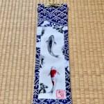 ミニ着物掛け軸 日本画 水墨画 錦鯉の滝登り