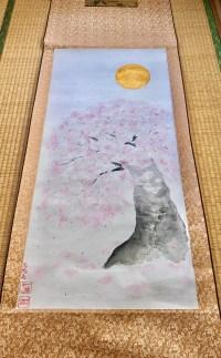特大掛け軸 桜と満月