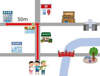 2つ目の交差点を左に曲がって、50m行くと、右に銀行があります。