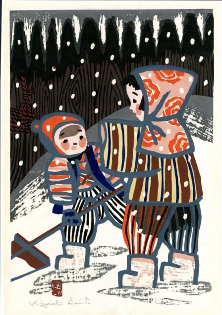 Two Aizu Children in the Snow