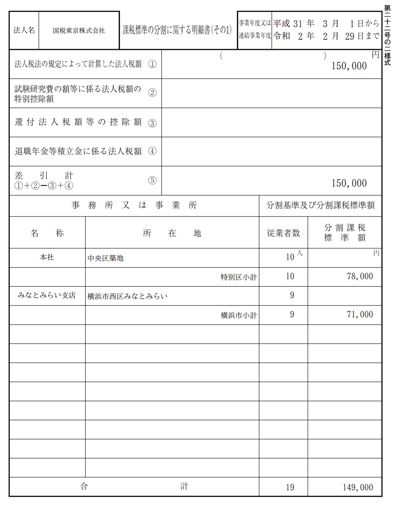 課税標準の分割に関する明細書(その1)サンプル第22号の2