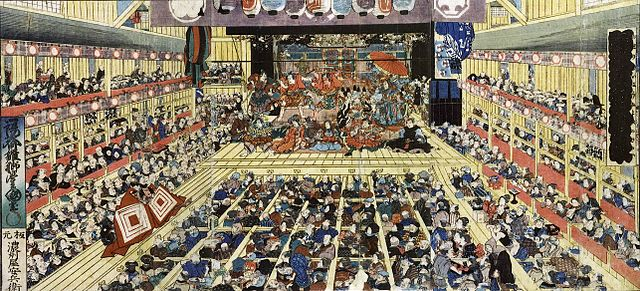 The July 1858 production of Shibaraku at the Ichimura-za theater in Edo.za theater in Edo.