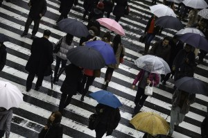 Wet Japan Busy Osaka People Rainy Umbrella