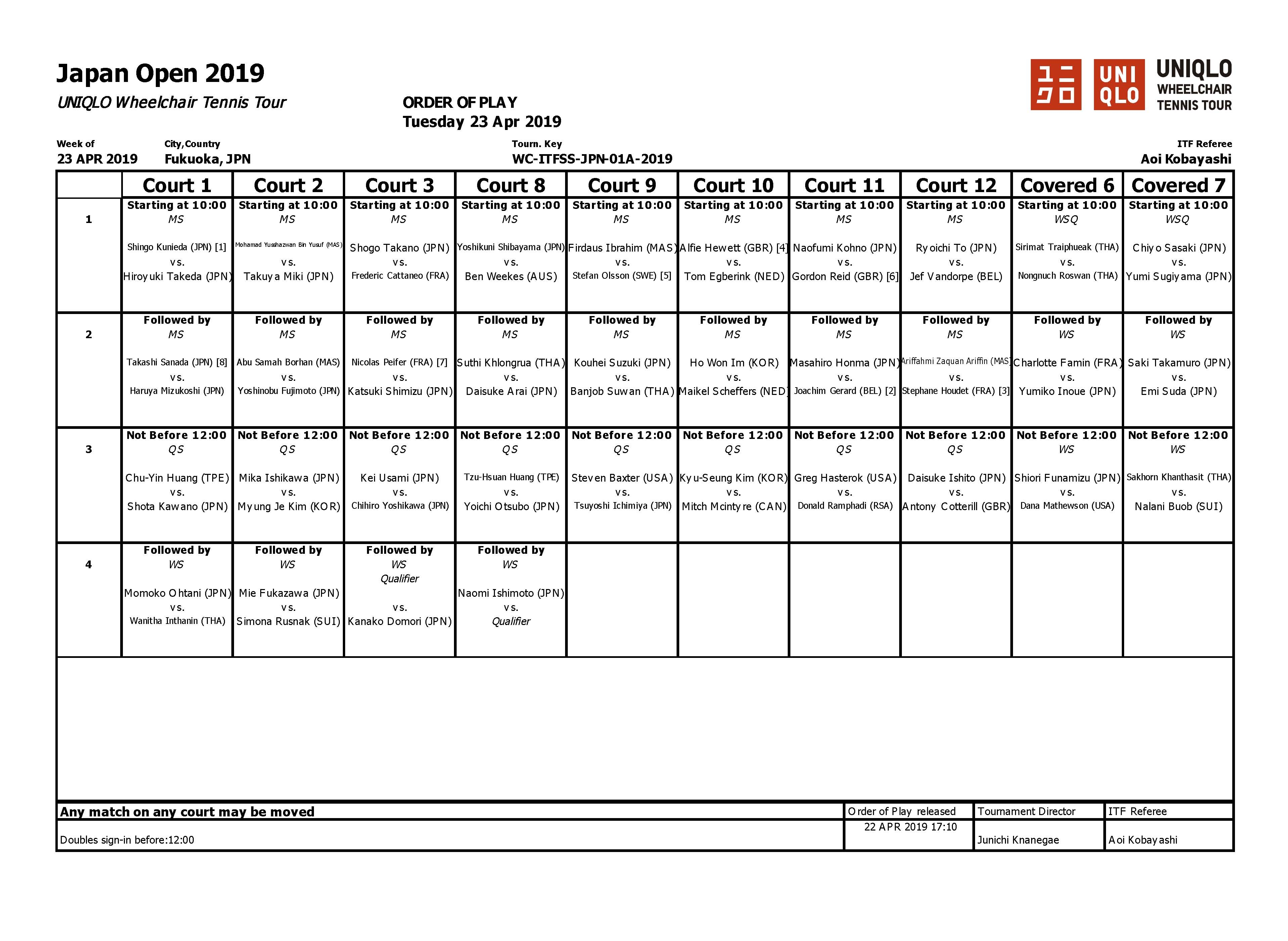 オーダーオブプレー/Order of Play(Apr 23)【JAPAN OPEN】