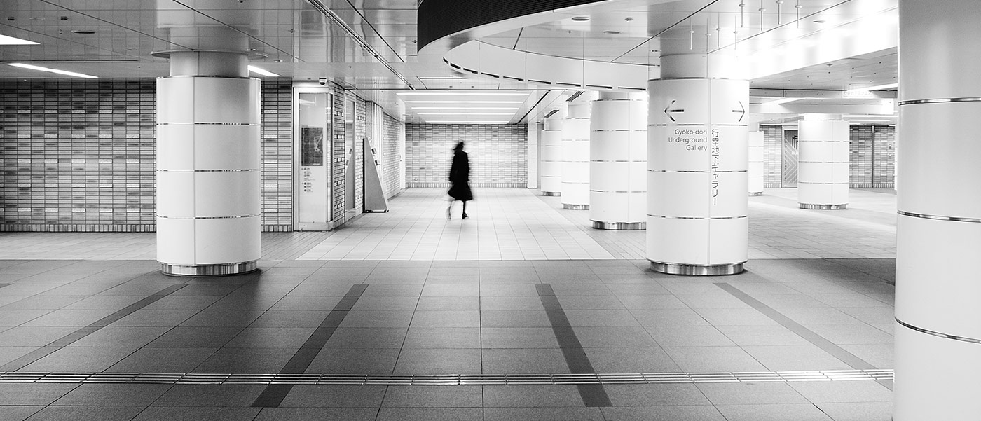 Black & white street photography underground in Tokyo
