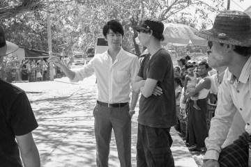 Hiroki Hasegawa and director Daishi Matsunaga on location in Myanmar