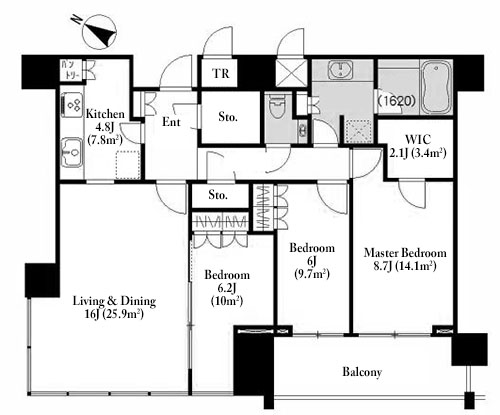The Roppongi Tokyo Club Residence 30F Floorplan