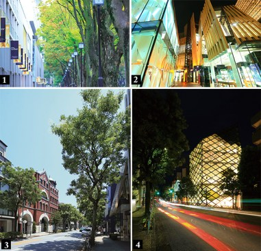 [1] Omotesando Dori Avenue – 840 meters, [Jewels of Aoyama – 200 meters, [3] Miyuki Dori Avenue – 180 meters, [4] Prada – 200 meters.