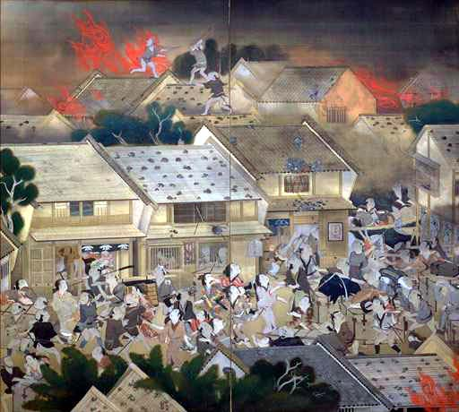 The Meireki Conflagration lasted 3 days and literally incinerated about 70% of Edo. More than 100,000 lives were lost. It's easy to look at this as an historical event with dispassionate eyes. But this was such a large scale tragedy that it permanently change the face of Edo-Tokyo.