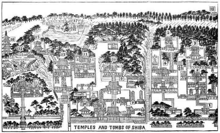 Map from a 1937 English language travel guide.  In the center you can see Zojo-ji's main gate and temple. On the left is Daitokuin, on the right large complex is Bunshoin and some of the other shoguns' graves.