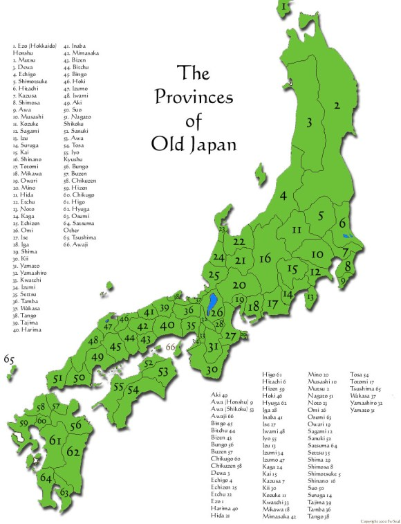 The provinces of Japan.