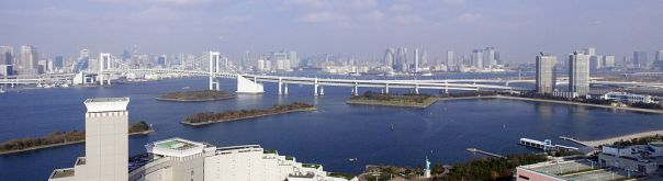 North side of Tokyo Bay taken from Odaiba facing the Tokyo Bayfront.