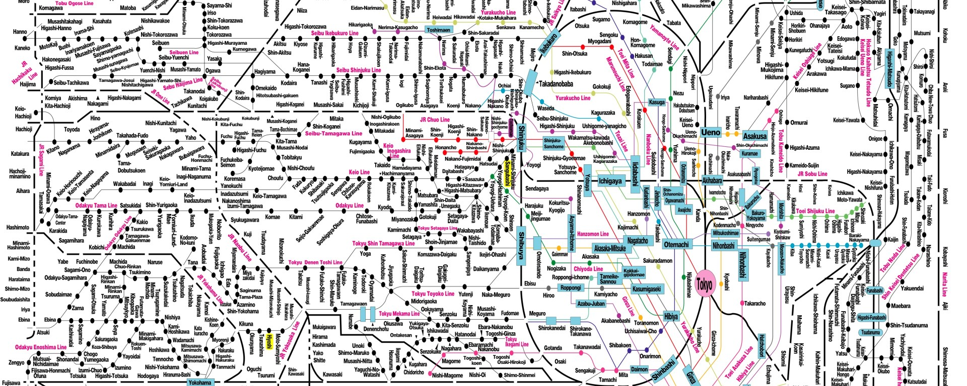 The Tokyo train system is probably the best in the world. This may not even be a complete map (or at least the JR Lines don't seem to be labeled indivdually....)