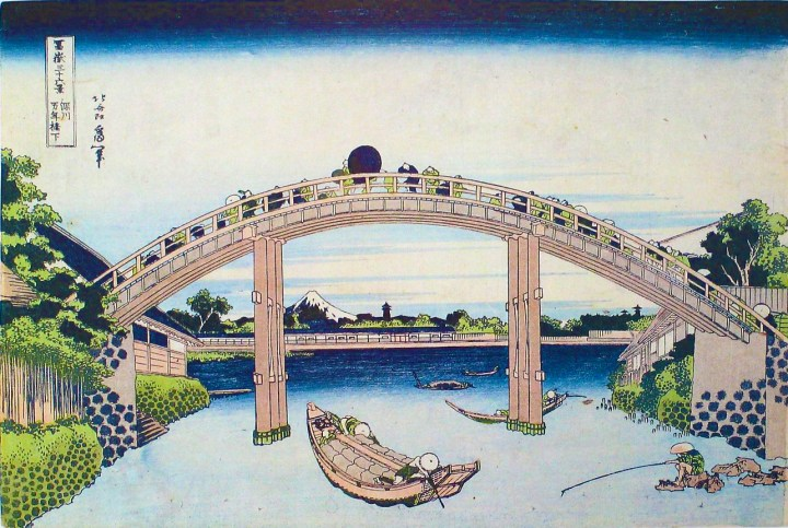 Edo Period people loved the rivers and bridges of the city. While this isn't a pleasure boat, people of means enjoyed riding under the bridges.