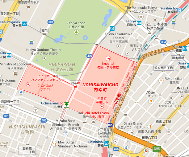 Hibiya Park is next to Uchisaiwaicho.