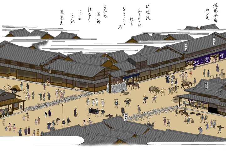 This is a depiction of Fuda no Tsuji in Nagoya. The place name is common throughout Japan. Even though this is Nagoya, I hope that when you finish this article, you'll be able to spot the similarities and differences between the Edo-Tokyo location and the Nagoya location.