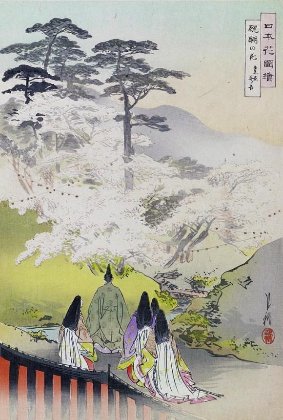 toyotomi hideyoshi enjoying hanami with a gaggle of girls