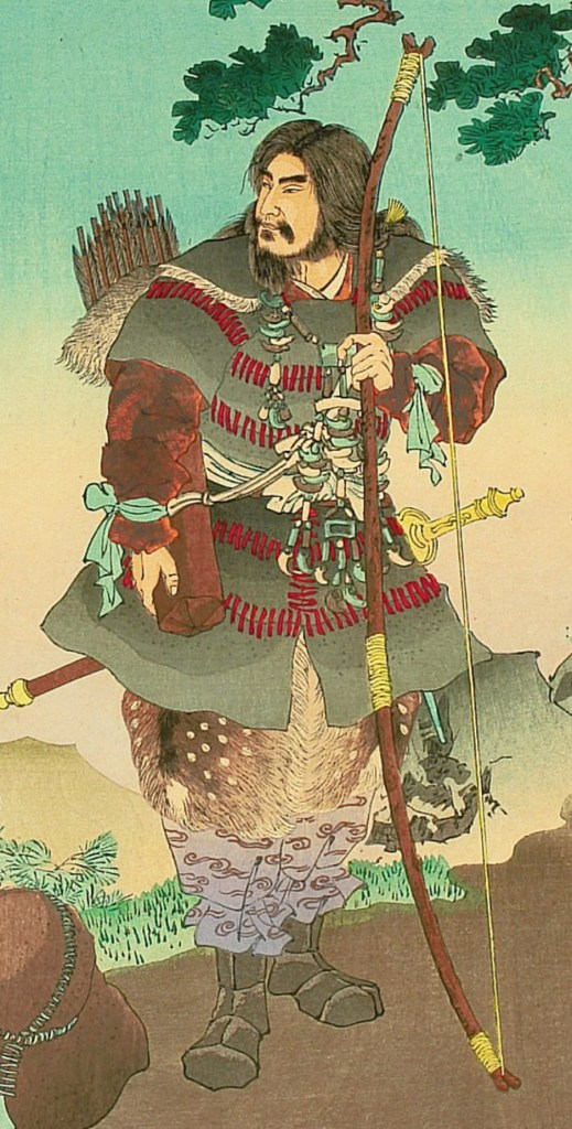 Emperor Jinmu with bow and arrow
