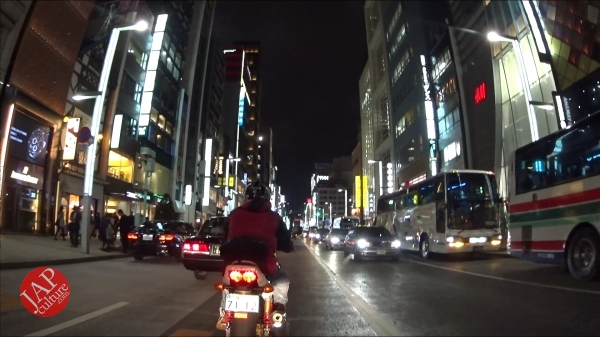 Ginza Chuo dori, Central street [Riding view] at night. elegant neon sing town_0002