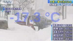 Hokkaido: Dropped to -17.3 Degrees