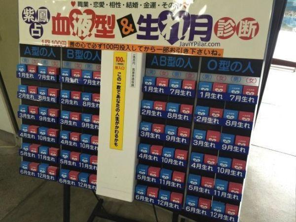Expositor con omikuji basados en el grupo sanguíneo