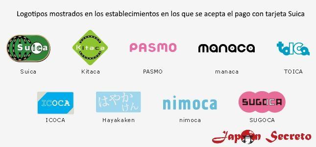 La tarjeta Suica puede utilizarse en cualquiera de los establecimientos en que se muestre alguno de estos logotipos