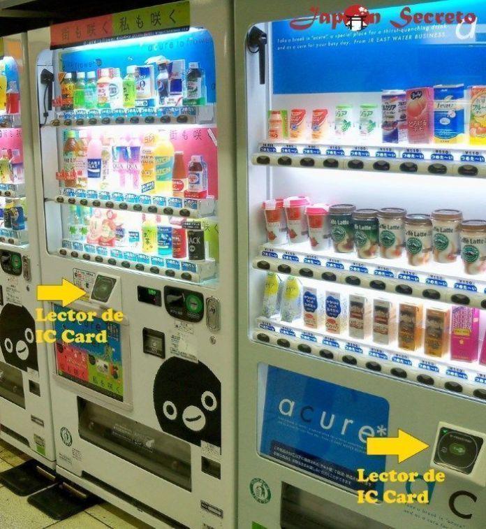 Máquinas expendedoras de bebidas en Japón con lector de tarjetas Suica