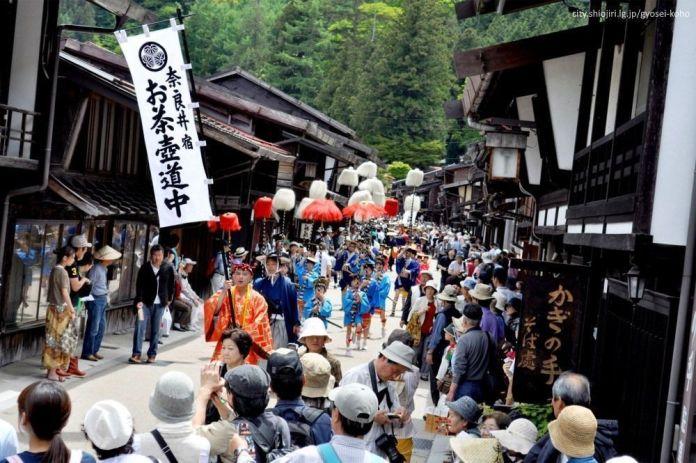 Festivales de Japón: Festival Shukubasai, celebrado cada año el primer fin de semana de junio en el histórico distrito de Narai