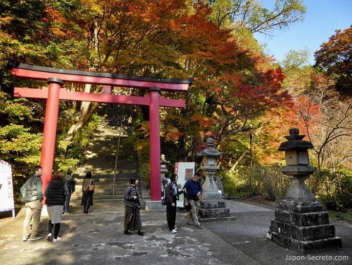 "Puerta torii de entrada al santuario Tanzan (""Tanzanjinja"", 談山神社) en Sakurai (prefectura de Nara)"