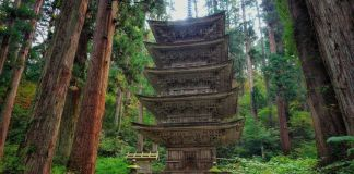 Dewa Sanzan: monte Haguro. Pagoda de cinco pisosGojū No Tō