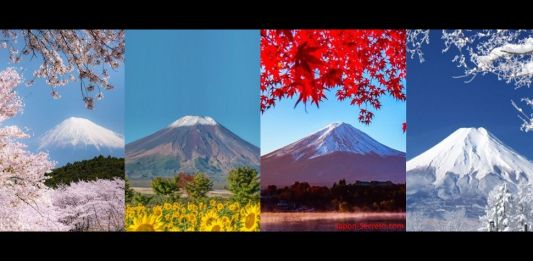 las cuatro estaciones en el Monte Fuji. Cuál es la mejor época para viajar a Japón.
