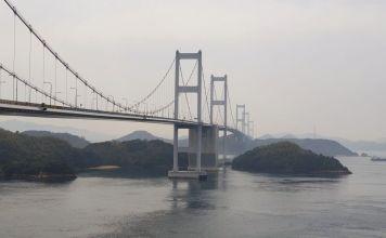 Gran puente del estrecho de Kurushima. En bicicleta por Japón: ruta Shimanami Kaido a Shikoku por el mar interior de Seto
